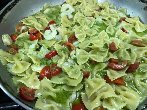 Farfalle with pesto, shripms, tomatoes. annasfoodstories