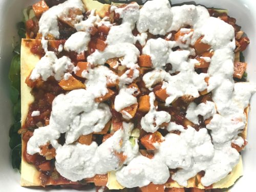 bechamel sauce on top of pumpkin wonderful veggie lasagne annasfoodstories